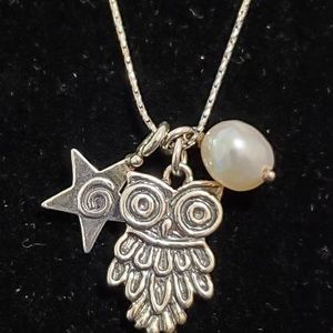 Shablool Didae SS Owl Star Pearl Necklace NWOT